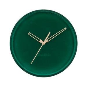 Tmavě zelené sametové nástěnné hodiny Karlsson Lush,ø30cm