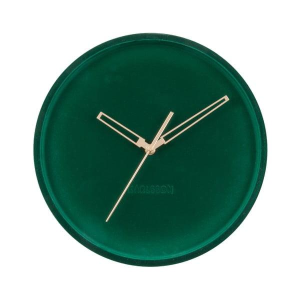 Ciemnozielony aksamitny zegar ścienny Karlsson Lush