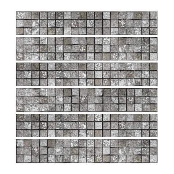 Set 6 autocolante de perete Ambiance Friezes Tiles Stone, 5 x 30 cm
