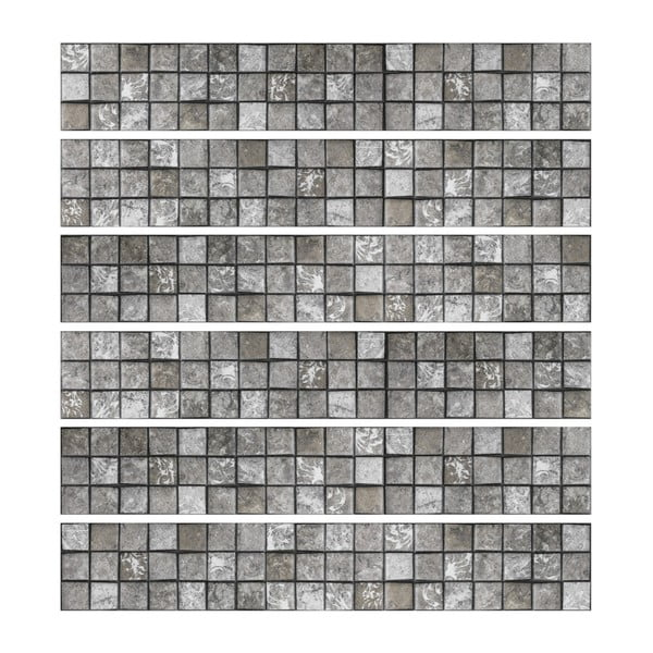 Sada 6 nástěnných samolepek Ambiance Stickers Friezes Tiles Stone, 5 x 30 cm