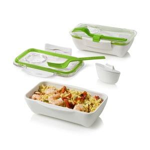 Cutie pentru gustare Bento, alb-verde