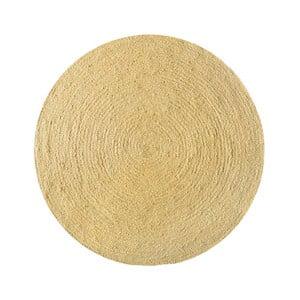 Koberec z juty Linen Couture Rug Circle Yellow, ⌀ 140 cm