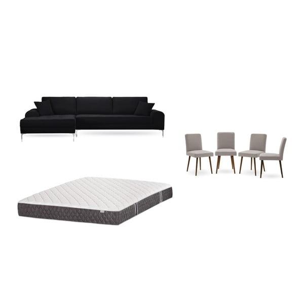 Set canapea neagră cu șezlong pe partea stângă, 4 scaune taupe și saltea 160 x 200 cm Home Essentials