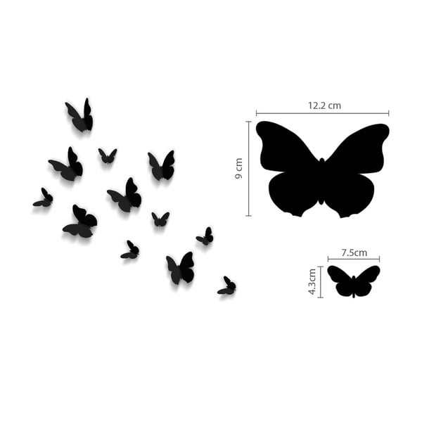 Trojrozměrné samolepky motýlků, jednobarevní černí