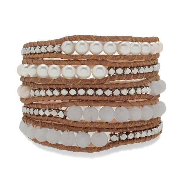 Hnědý pětiřadý náramek z pravé kůže s perlami a kamínky Lucie & Jade