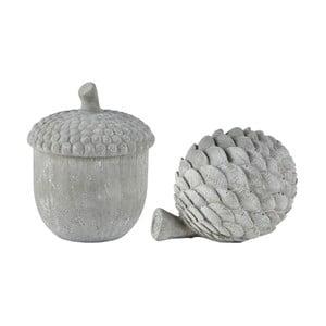 Sada 2 šedých dekorativních sošek KJ Collection Cone