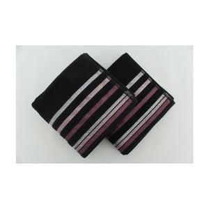 Sada 2 osušek Bianna Black, 50x90 cm