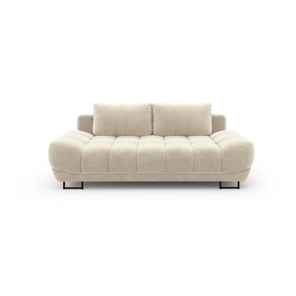 Béžová třímístná rozkládací pohovka se sametovým potahem Windsor & Co Sofas Cirrus