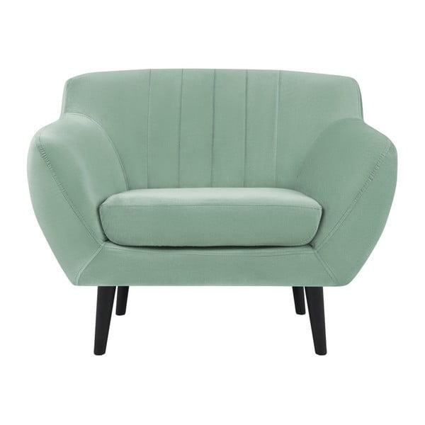 Fotoliu elegant cu picioare negre Mazzini Sofas Toscane, verde mentă