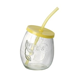 Žlutá sklenice s brčkem Parlane Straw Yellow