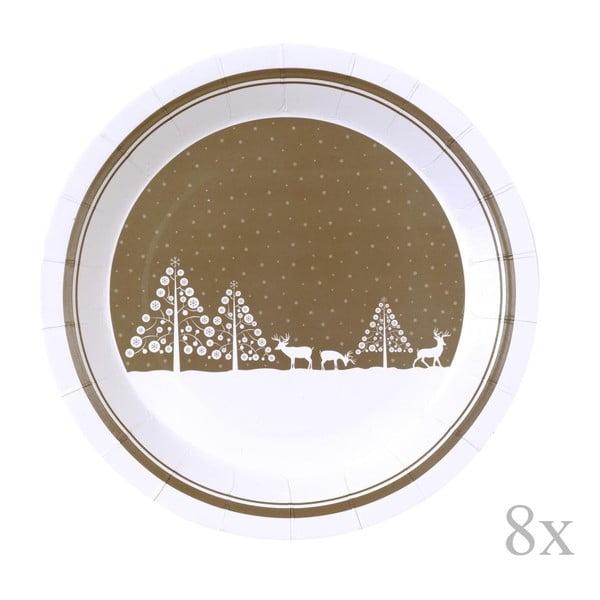 Sada 8 papírových talířů Neviti Winter Wonderland, ⌀23cm