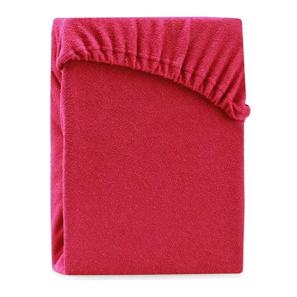 Červené elastické prostěradlo na dvoulůžko AmeliaHome Ruby Maroon, 180-200 x 200 cm