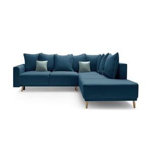Canapea extensibilă cu șezlong pe partea dreaptă Bobochic Paris Molla, albastru închis