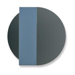 Modro-šedé nástěnné zrcadlo z dubového dřeva HARTÔ Charlotte, Ø 60 cm