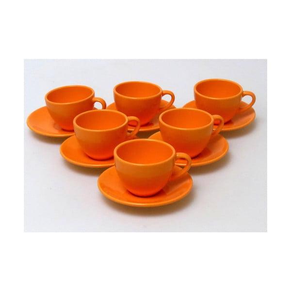 Šálky s podšálky Kera Orange, 6 ks