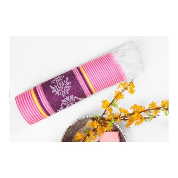 Růžovofialová hammam osuška Deco Bianca Loincloth Pink Stripe, 80x170cm