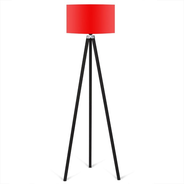 Černá volně stojící lampa s červeným stínítkem lampa Kate Louise Siyah