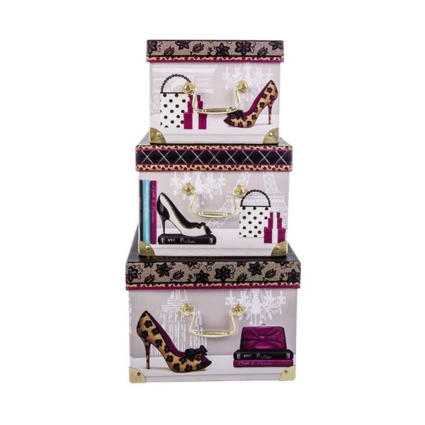 Sada 3 úložných krabic Elegance is the only beauty