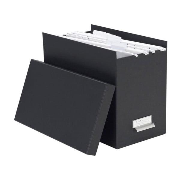 Tmavě šedý úložný box se jmenovkou Bigso, 35 x 27 cm
