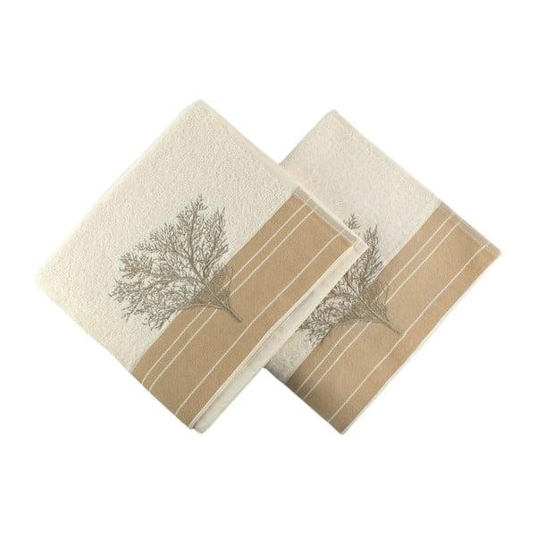 Zestaw 2 kremowych bawełnianych ręczników Infinity, 50x90 cm