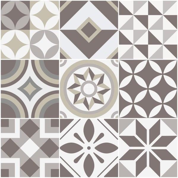 Sada 9 nástěnných samolepek Ambiance Tiles Azulejos Geometric, 10 x 10 cm