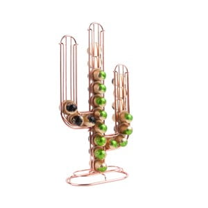 Stojan na 48 kávových kapslí v měděné barvě Present Time Cactus