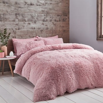 Lenjerie de pat din fleece Catherine Lansfield Cuddly, 135 x 200 cm, roz