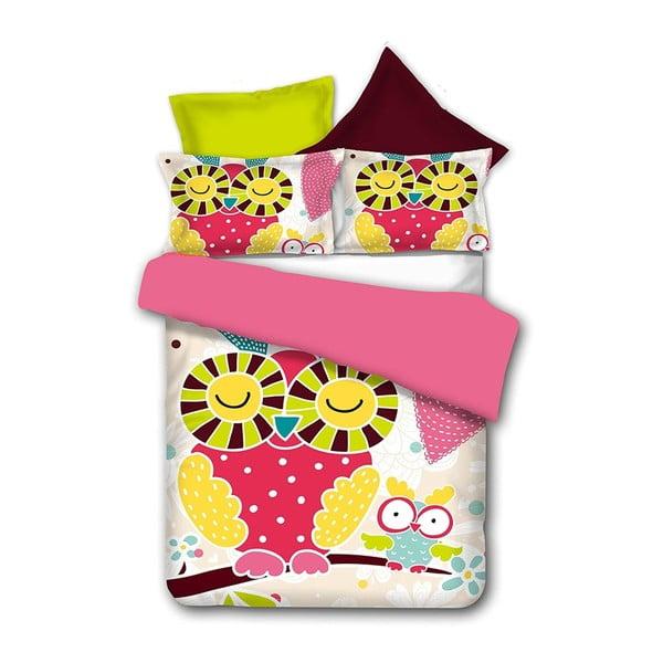 Lenjerie de pat din microfibră DecoKing Owls Funnystory, 135 x 200 cm