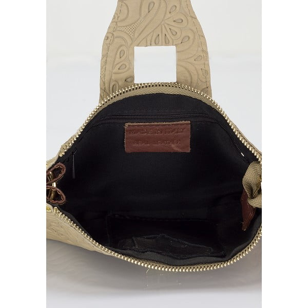 Taupe kožená kabelka Giulia Massari Daimh