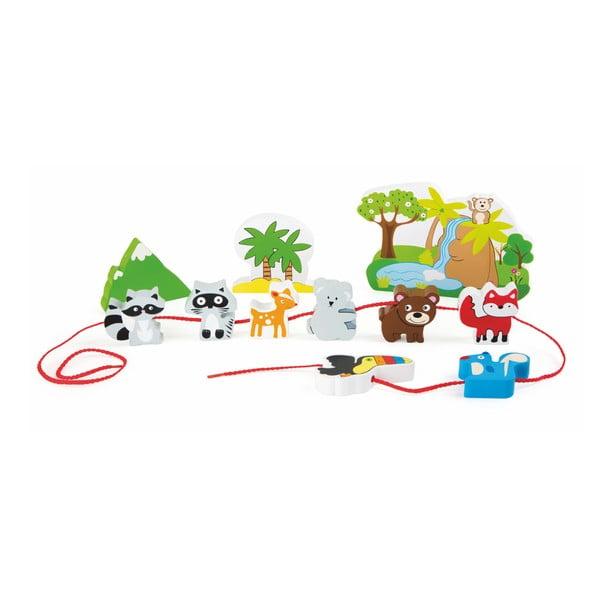 Set jucării din lemn cu șnur Legler Safari