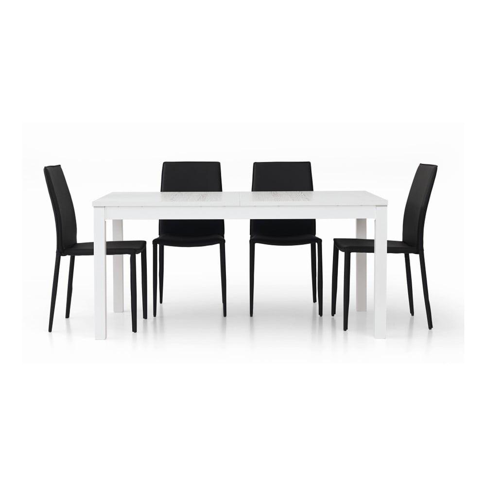 Bílý dřevěný rozkládací jídelní stůl Castagnetti Wyatt, 160 cm