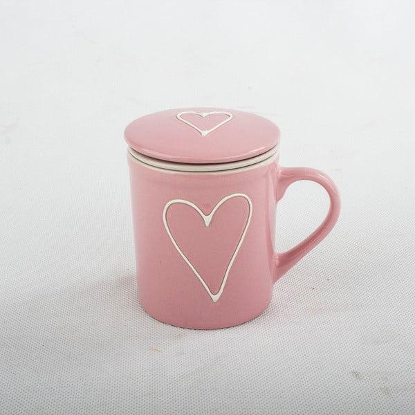 Cană din ceramică cu sită și capac Dakls, 290ml, roz