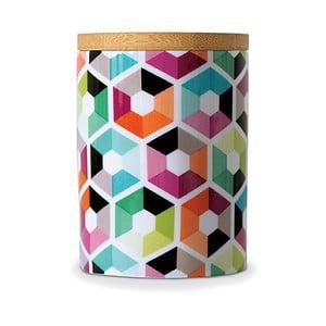 Recipient din porțelan cu capac din bambus Remember Hexagon,11x⌀8cm
