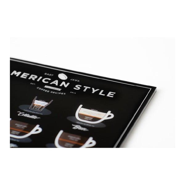 Černý plakát Follygraph American Style Coffee, 30x40cm