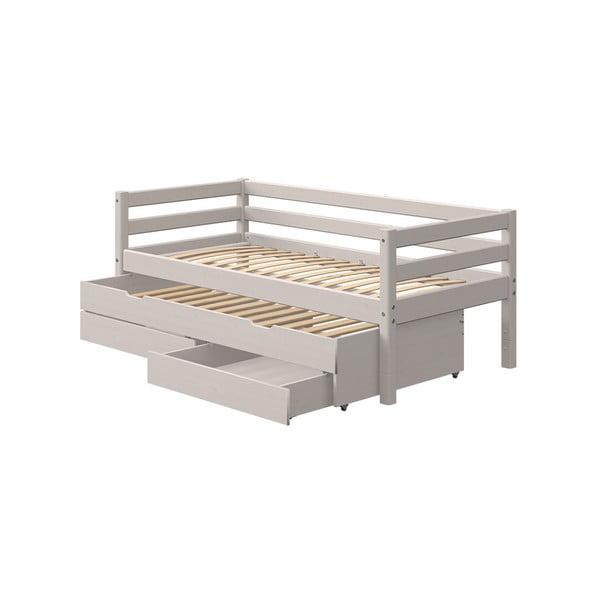 Szara dziecięce łóżko z drewna sosnowego z dodatkowym wysuwanym łóżkiem i szufladą Flexa Classic