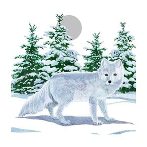 Balení 10 papírových ubrousků s vánočním motivem PPD Snow Fox