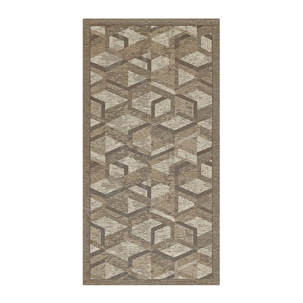 Šedo-hnědý běhoun Floorita Hypnotik, 55 x 280 cm