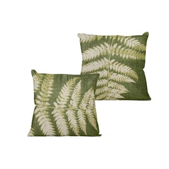 Pernă Linen Couture Leaves,45x45cm, verde, model frunze