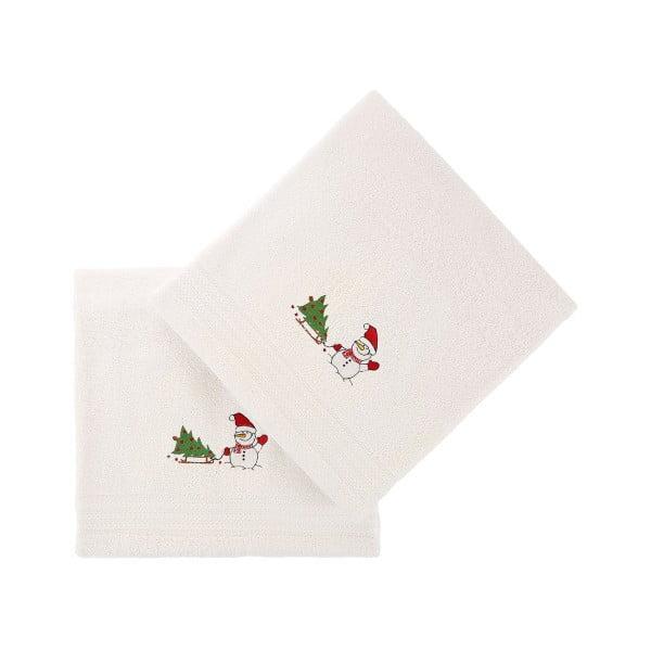 Sada 2 bielych vianočných uterákov Snowy, 70x140 cm