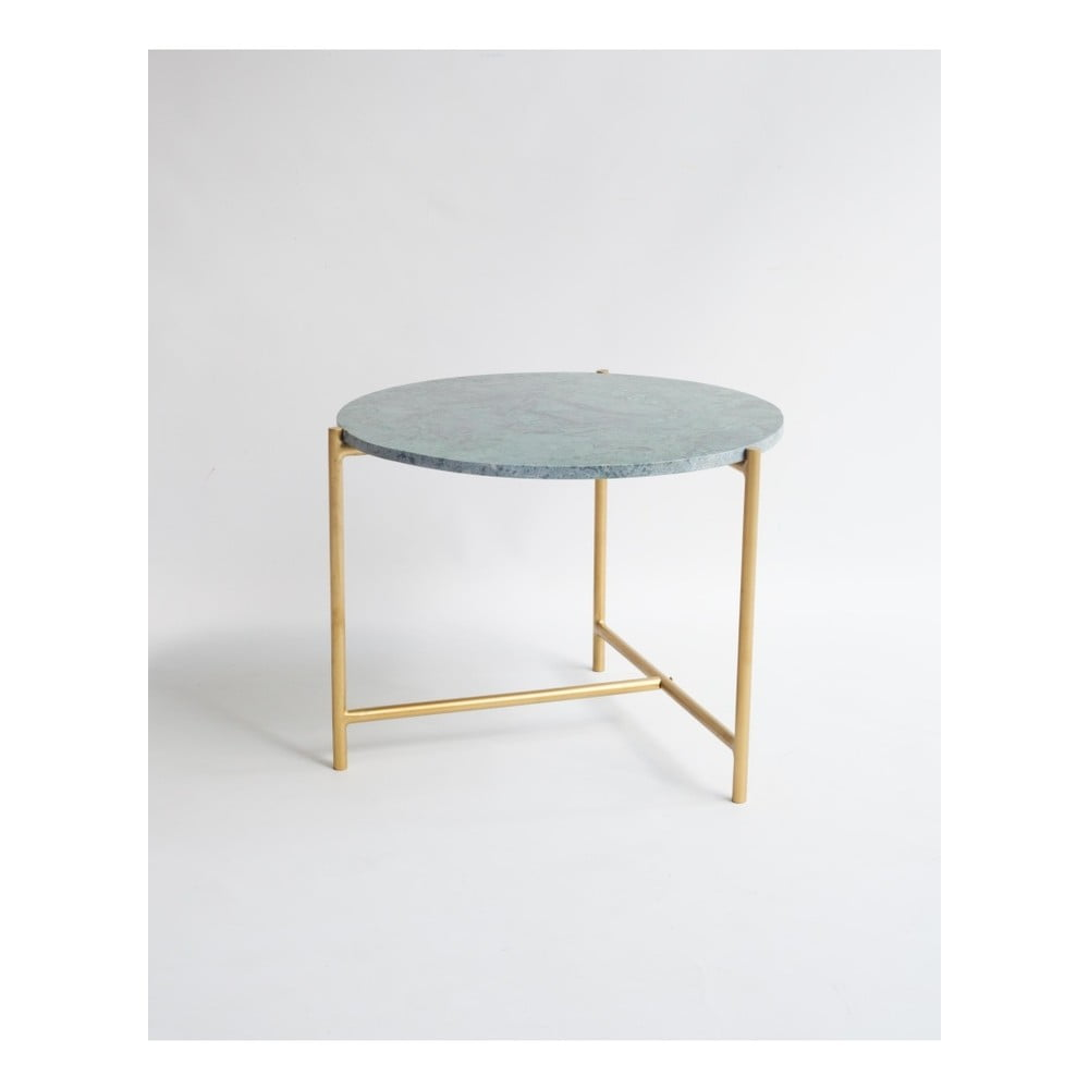 Konferenční stolek se zelenou mramorovou deskou Velvet Atelier, Ø 50 cm