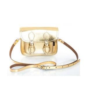 Kožená kabelka Satchel 18 cm, zlatá