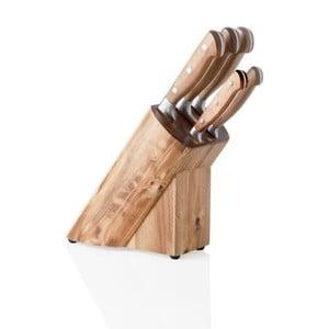 Suport pentru cuțite din lemn de salcâm și set 5 cuțite din oțel inox Brandani Cut