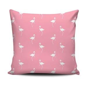 Růžovobílý polštář Home de Bleu White Flamingos, 43x43cm