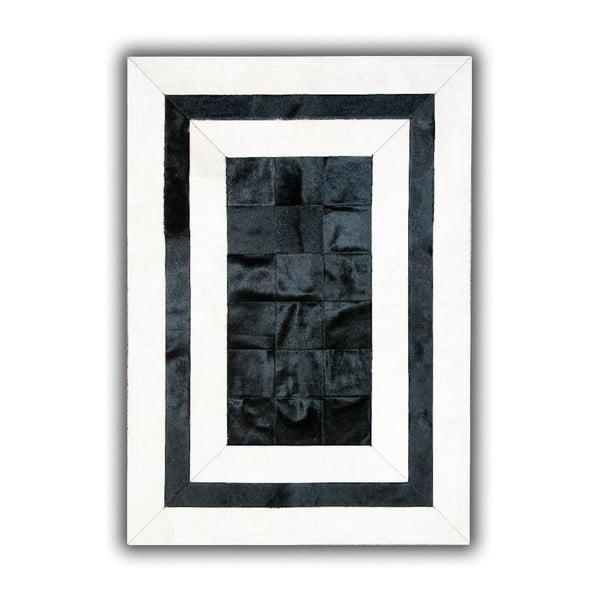 Koberec z pravé kůže Black&White, 140x200 cm