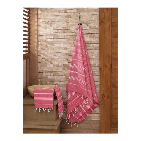 Set červeného ručníku a osušky Hammam Sultan