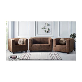 Set canapea cu 2 locuri și 2 fotolii Bobochic Paris Django Preston maro