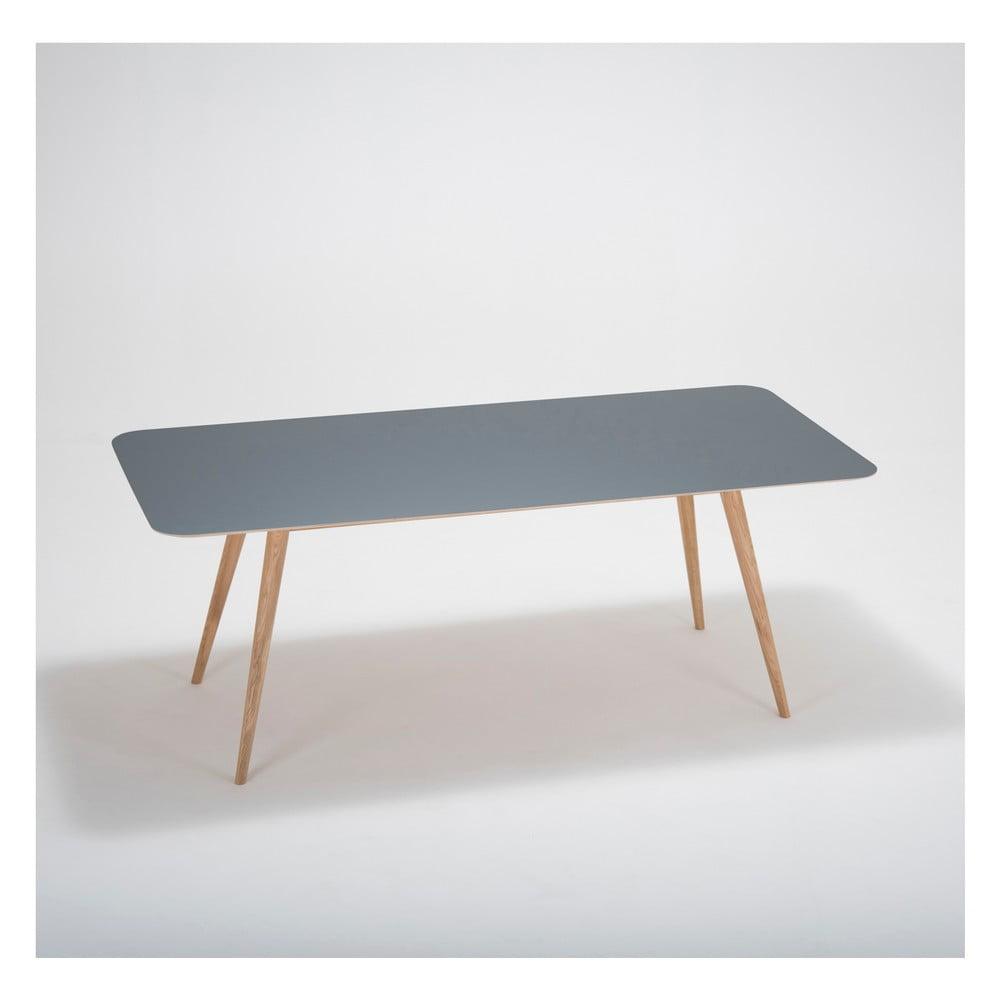 Jídelní stůl z masivního dubového dřeva s černou deskou Gazzda Linn, 200x90cm