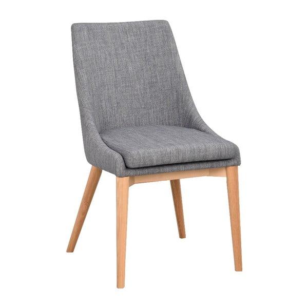 Szare tapicerowane krzesło do jadalni z brązowymi nogami Rowico Bea