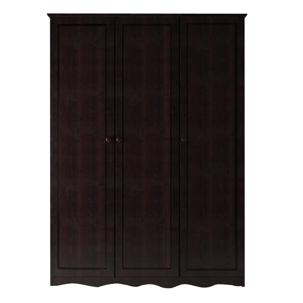 Tmavě hnědá třídveřová šatní skříň z masivního borovicového dřeva Støraa Amanda