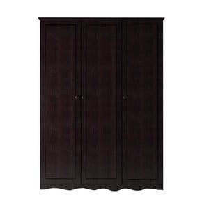 Șifonier din lemn de pin masiv cu 3 uși Støraa Amanda, maro închis